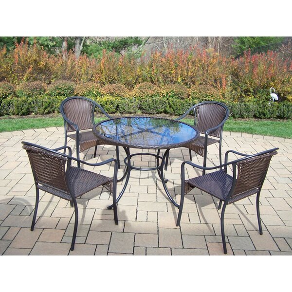 Kingsmill Coastal 5 Piece Steel Frame Dining Set by Rosecliff Heights