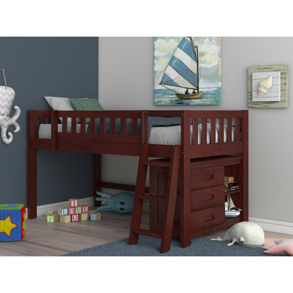 Fidelia Honey Twin Low Loft Bed with 3 Drawers by Harriet Bee