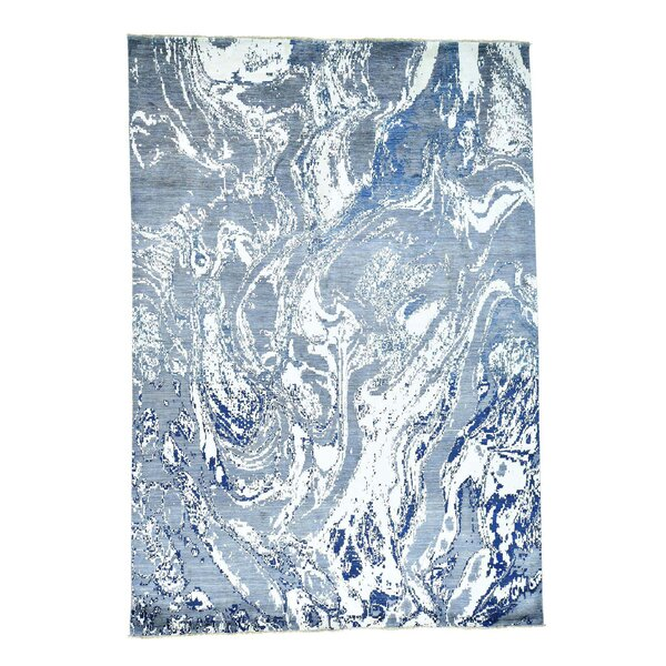 Abstract Ghazni Hand-Knotted Denim Blue Area Rug by Ivy Bronx