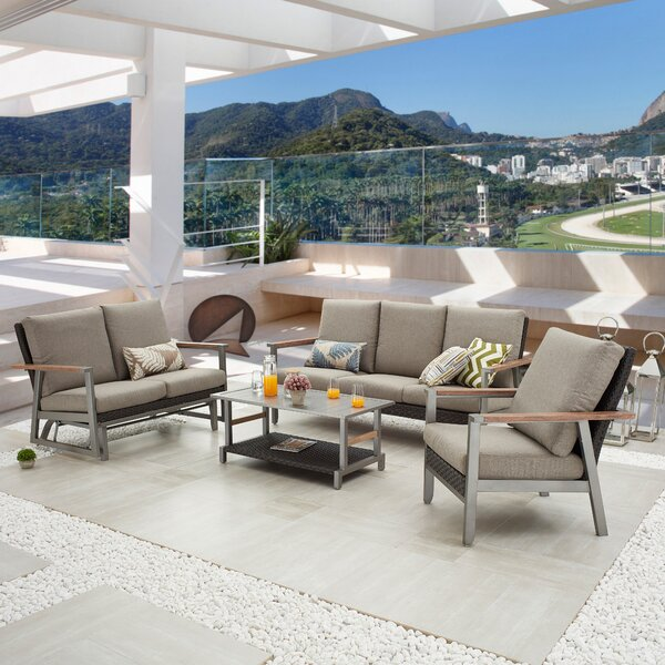 Sukru Outdoor 4 Piece Sofa Seating Group with Cushions by Latitude Run