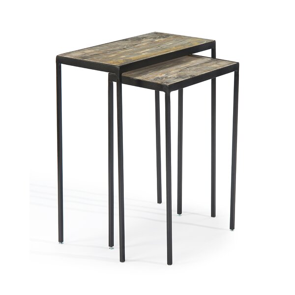 Gilded Onyx Stacking 2 Piece Nesting Tables by John-Richard