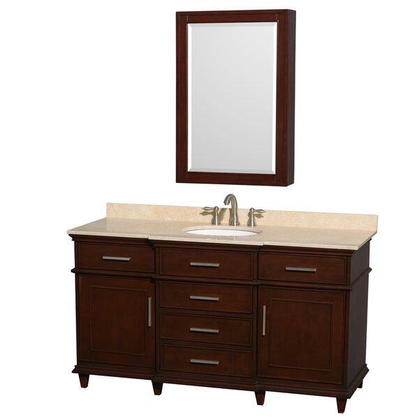 Berkeley 60 Single Dark Chestnut Bathroom Vanity Set with Medicine Cabinet by Wyndham Collection