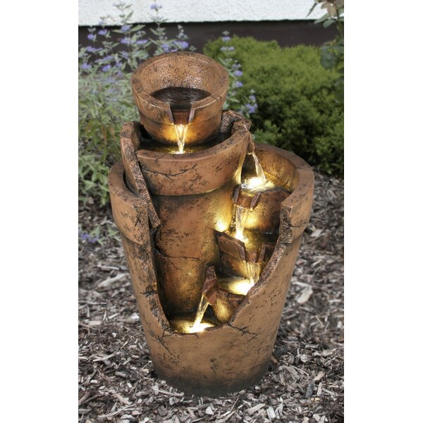 Resin Multi Level Cut Away Planter Fountain with LED Light by Hi-Line Gift Ltd.