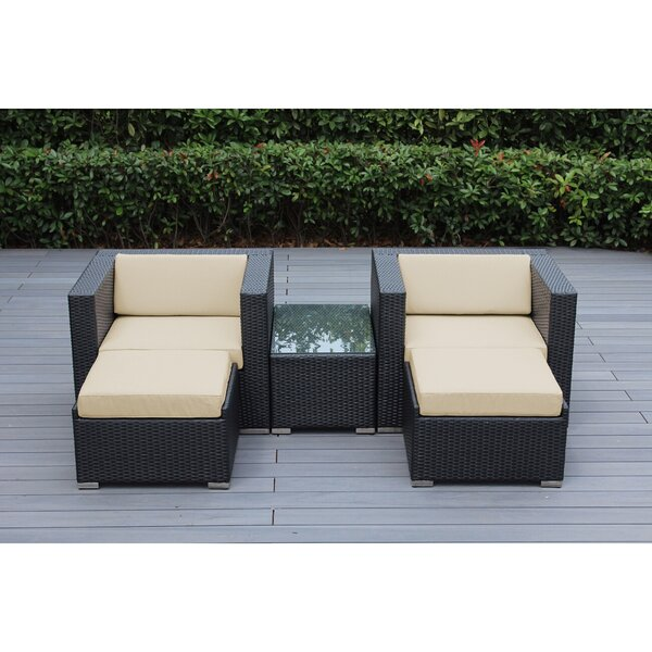 Baril 5 Piece Rattan Conversation Set with Sunbrella Cushions by Wade Logan