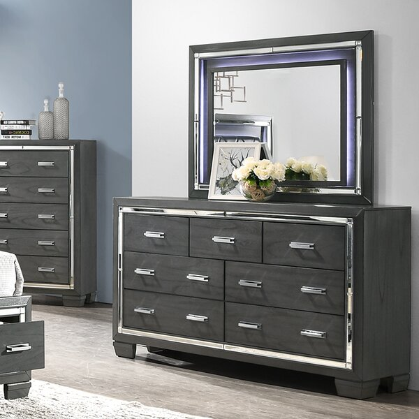 Anthea 7 Drawer Double Dresser with Mirror by House of Hampton