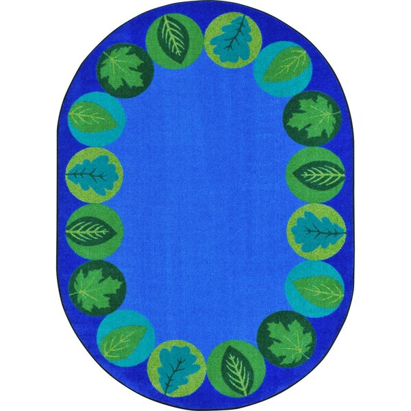 Almira Lively Leaves Blue Area Rug by Zoomie Kids