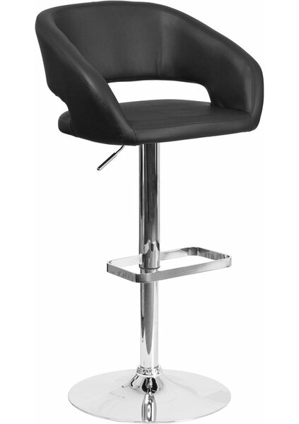 Whelan Rounded Mid Back Adjustable Height Swivel Bar Stool by Orren Ellis