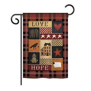 Primitive Collage Love Hope Inspirational Sweet Home Impressions Decorative Vertical 13 x 18.5 Double Sided Garden Flag Set by Breeze Decor