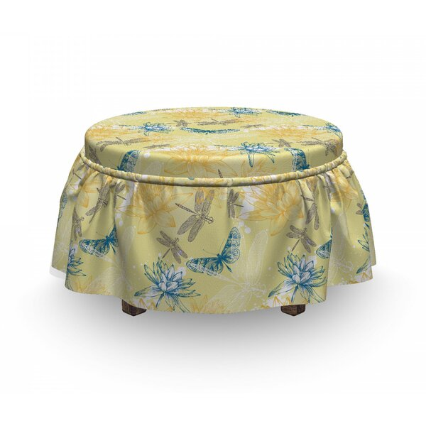 Dragonfly Lilies 2 Piece Box Cushion Ottoman Slipcover Set By East Urban Home