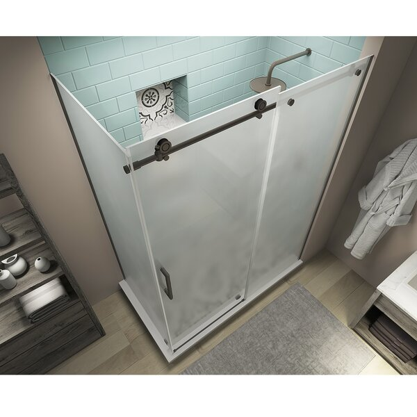 Coraline XL 48 W x 80 H Frameless Rectangle Sliding Shower Enclosure with Fixed Panel