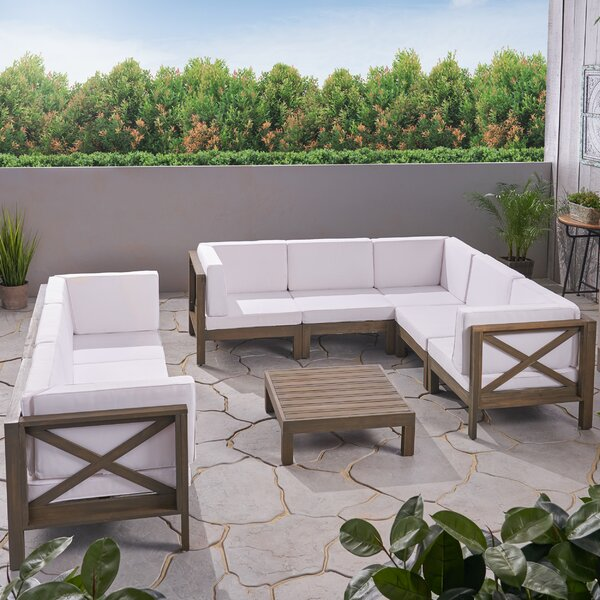 Abbie 8 Piece Sectional Seating Group with Cushion by Longshore Tides