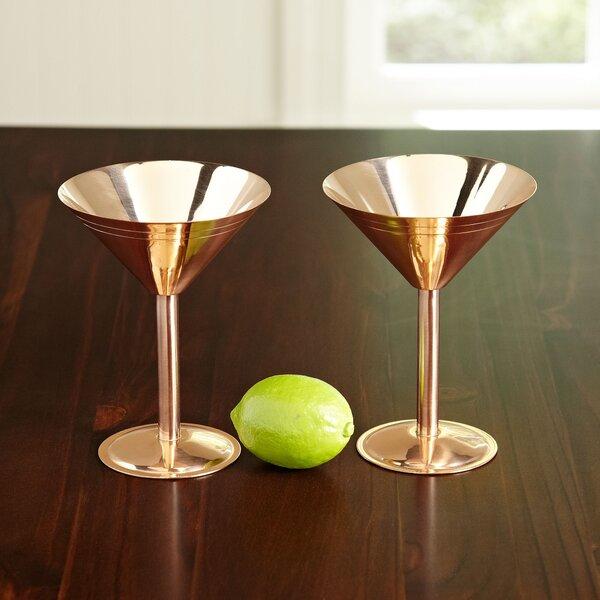 Copper 9 oz. Martini Glasses (Set of 2) by Birch Lane™