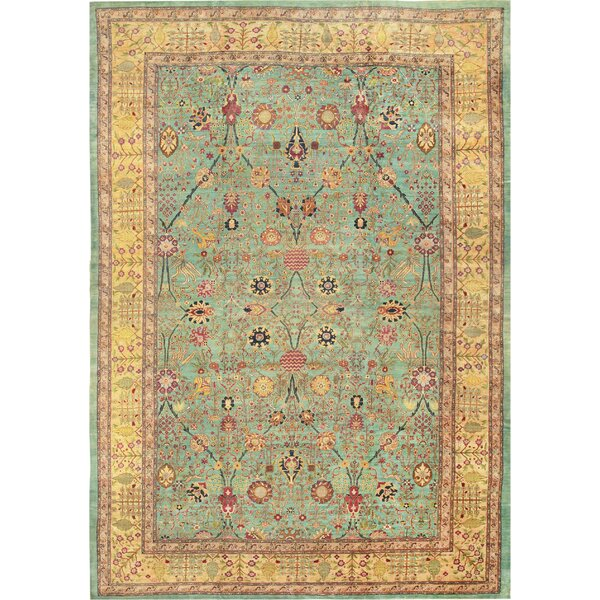 One-of-a-Kind Agra Hand-Knotted Before 1900 Gold 15'10 x 23' Wool Area Rug
