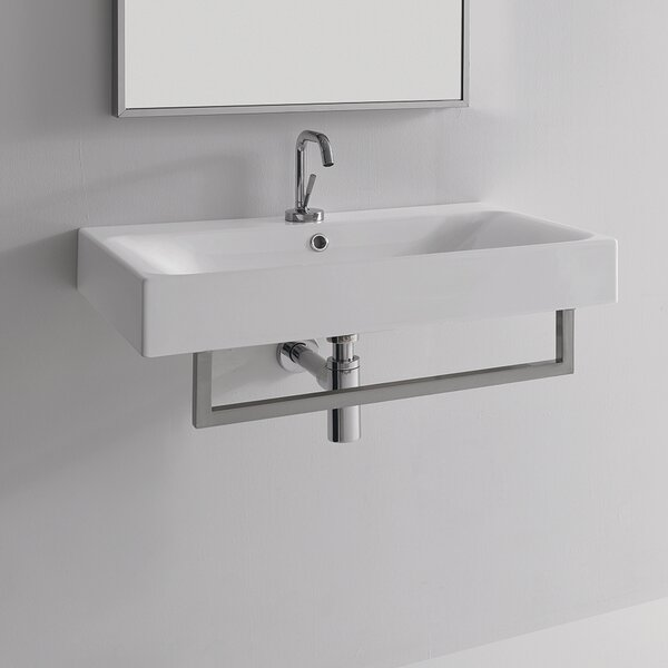 Cento Ceramic 28 Wall Mount Bathroom Sink with Overflow by WS Bath Collections