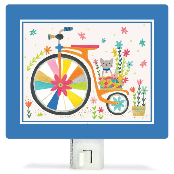 Kitty Bicycle by Irene Chan Canvas Night Light by Oopsy Daisy