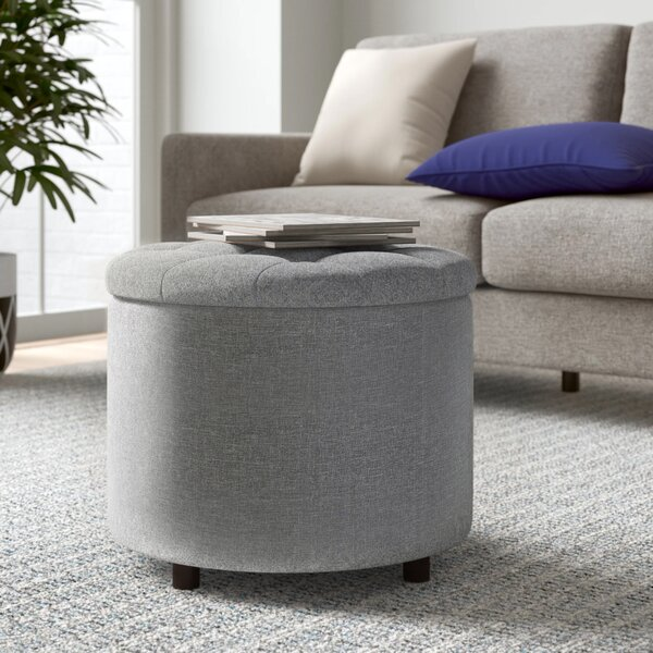Zora Tufted Storage Ottoman with Tray by Zipcode Design