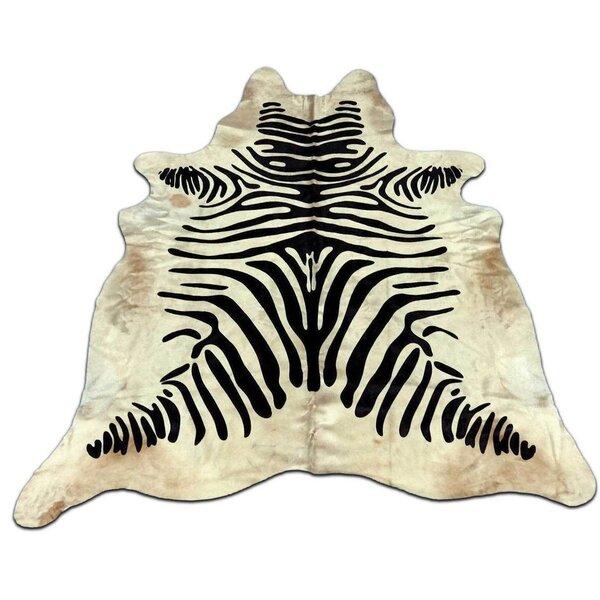 Aurik Zebra Hand Woven Cowhide Black/Ivory Area Rug by Bloomsbury Market