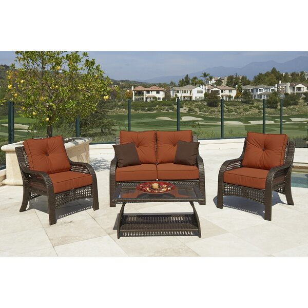 Willem 4 Piece Rattan Sofa Seating Group with Cushions by Breakwater Bay