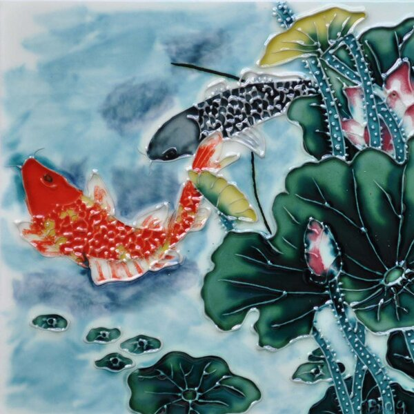 Aspen Lotus Koi in Blue Tile Wall Decor by Continental Art Center