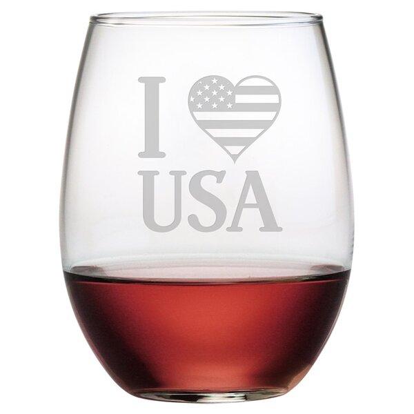 I Love the U.S.A. 21 oz. Stemless Wine Glass (Set of 4) by Susquehanna Glass