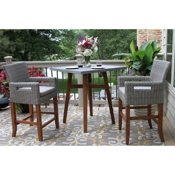 Jack 3 Piece Bistro Set with Cushions by Alcott Hill