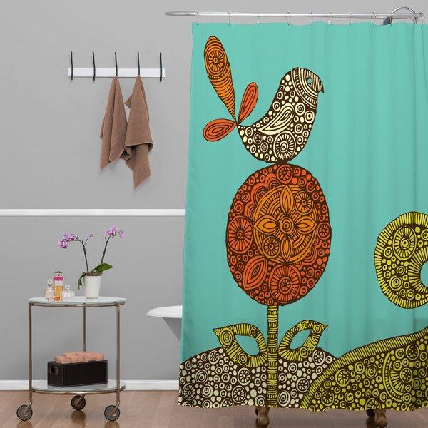 Deepak Bird in The Flower Shower Curtain by Bungalow Rose