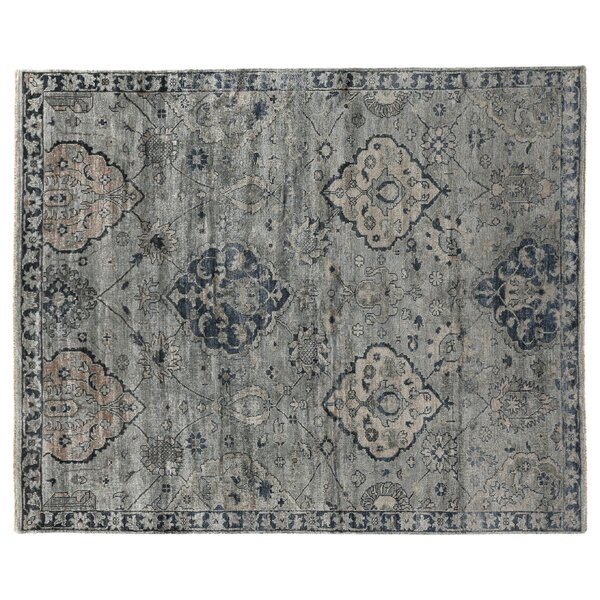 Hand-Knotted Gray/Denim Blue Area Rug by Exquisite Rugs