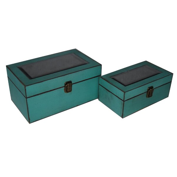 2 Piece Wooden Treasure Box Set with Bevelled Mirror by Cheungs