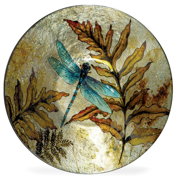 Decorative Round Blue/Brown Glass Plate (Set of 3)