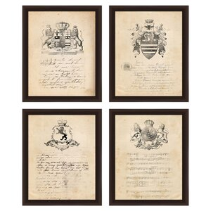 Vintage Crest Framed Print (Set of 4) by PTM