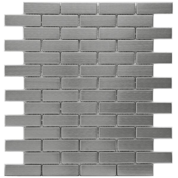 Metallic 0.75 x 2.5 Stainless Steel Over Ceramic Mosaic Tile in Silver by EliteTile