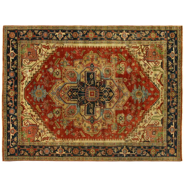 Serapi Hand-Knotted Wool Red/Black Area Rug by Exquisite Rugs