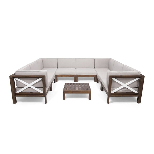 Pearce Outdoor U-Shaped 9 Piece Sectional Seating Group with Cushions by Breakwater Bay