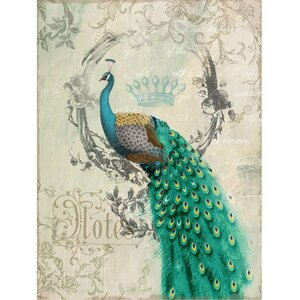 Peacock Poise Graphic Art on Wrapped Canvas by House of Hampton