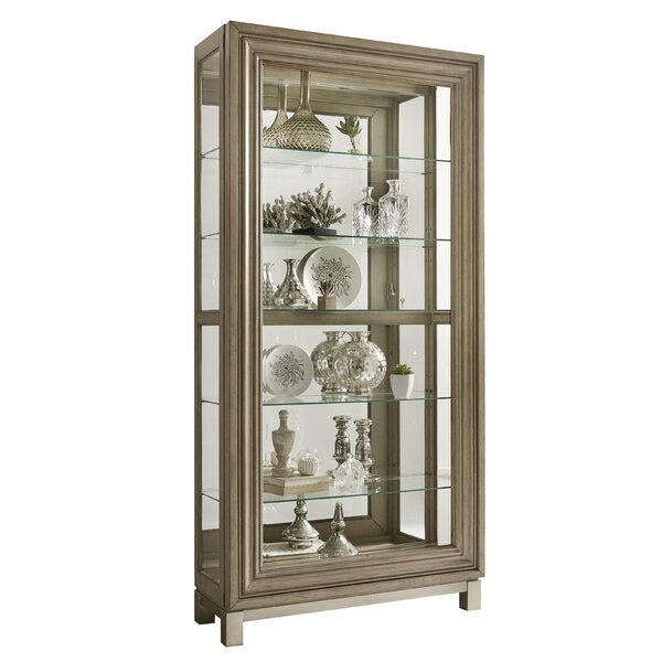 Giovanny Sliding Front Display Lighted Curio Cabinet by Gracie Oaks Gracie Oaks