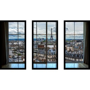 'Paris Rooftops 8 Window' 3 Piece Framed Photographic Print Set by Picture Perfect International