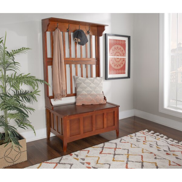 Louisa Rubberwood Solid Wood Hall Tree with Bench