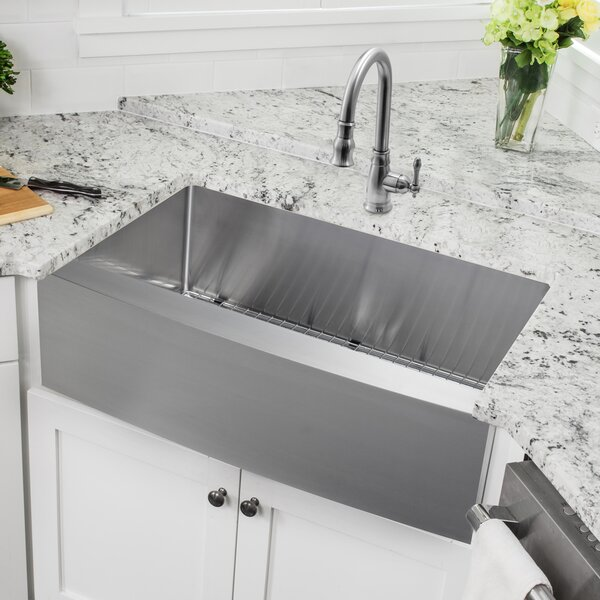 36 L x 20.75 W Apron Front Single Bowl Undermount Stainless Steel Kitchen Sink with Faucet by Soleil