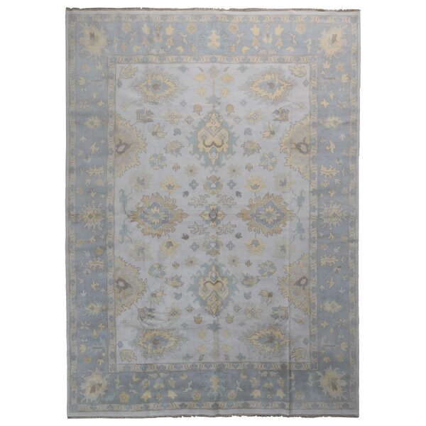 One-of-a-Kind Finadeni Oriental Hand-Knotted Wool Beige/Blue Area Rug by Isabelline
