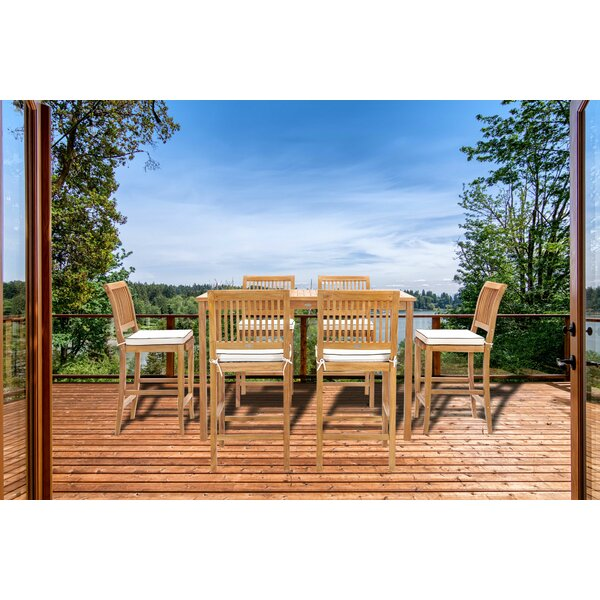 Dayne 7 Piece Teak Bar Height Dining Set by Bay Isle Home