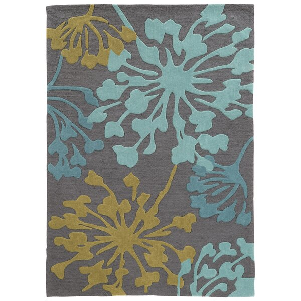 West Wick Hand-Tufted Gray/Gold Area Rug by Wrought Studio