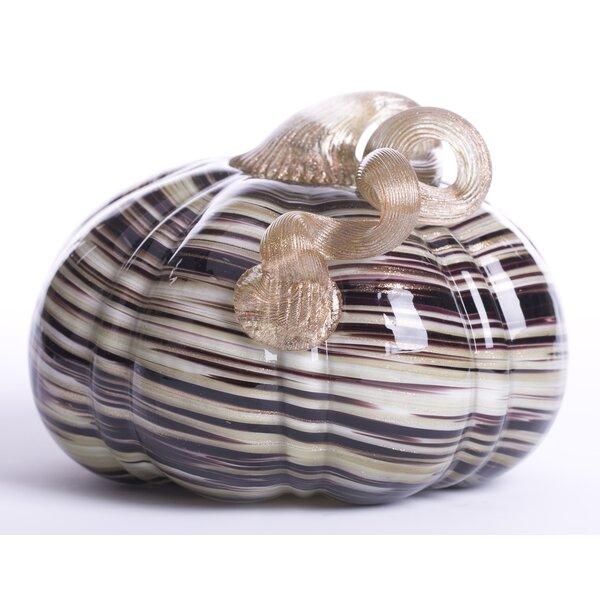 Handblown Stripe Glass Pumpkin Sculpture by Glitzhome