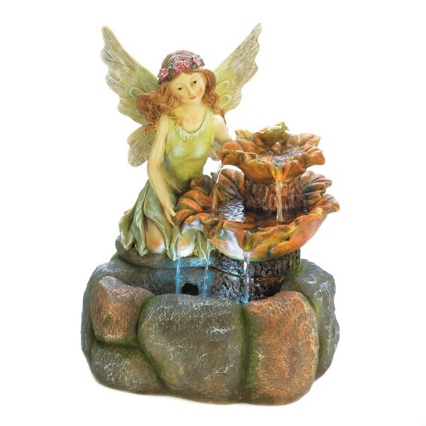 Resin Fairy Garden Fountain with Light by Zingz & Thingz