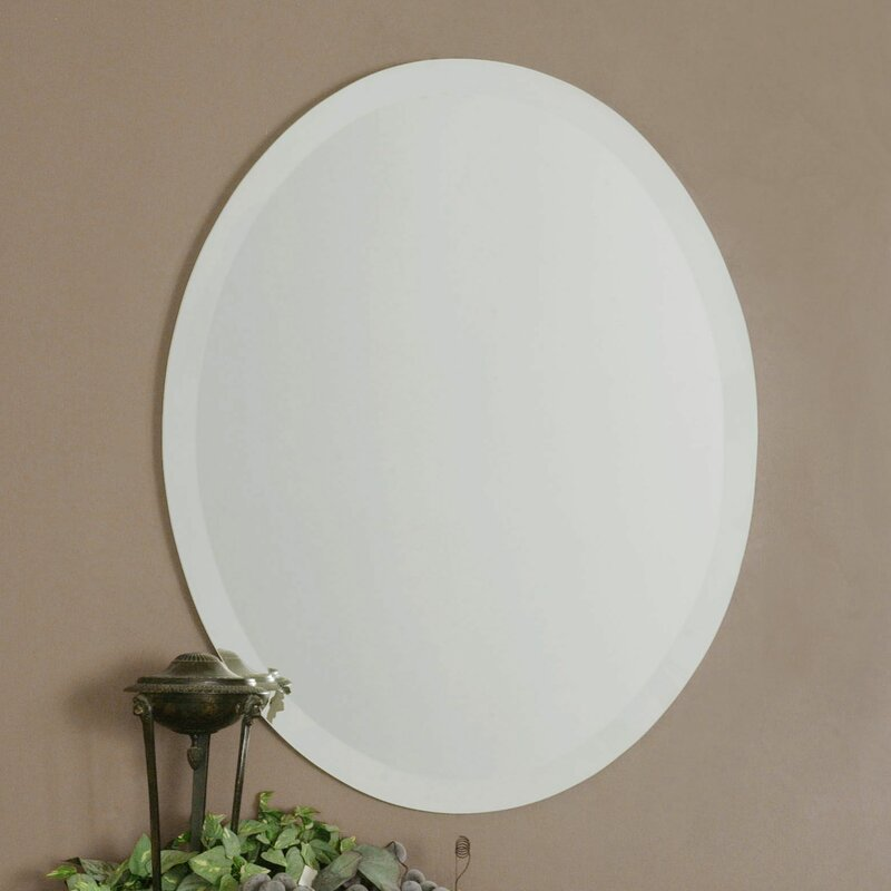 Oval Wall Mirrors red barrel studio frameless vanity oval wall mirror & reviews
