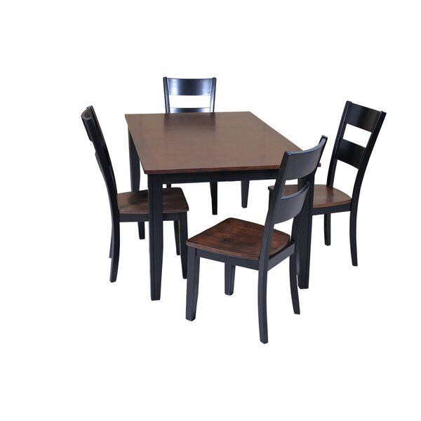 Best #1 Haan 5 Piece Solid Wood Dining Set With Butterfly Leaf Table By Red Barrel Studio Design
