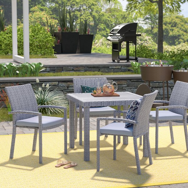Sexton 5 Piece Dining Set with Cushions by Wrought Studio
