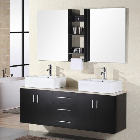 Newcastle 61 Double Bathroom Vanity Set with Mirror by Brayden Studio