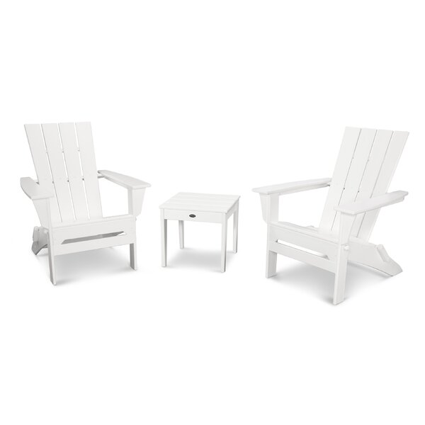 Quattro Plastic Folding Adirondack Chair with Table by POLYWOOD POLYWOOD®