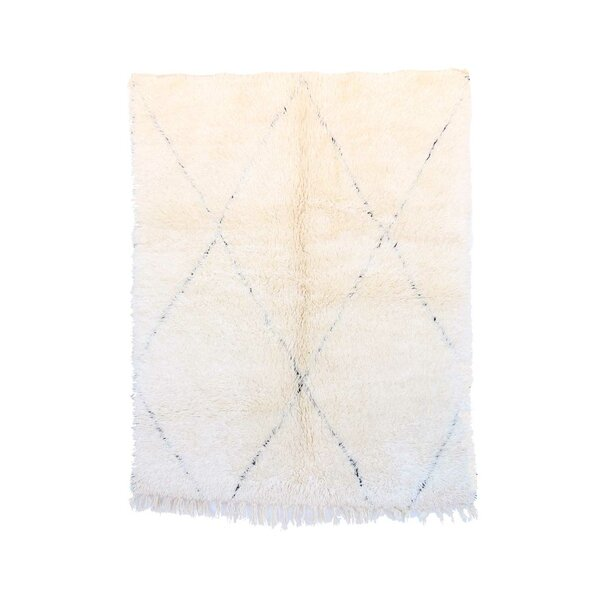 One-of-a-Kind Beni Ourain Moroccan Hand-Knotted Wool White Area Rug by Indigo&Lavender