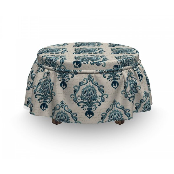 Damask Nostalgic Baroque Blooms 2 Piece Box Cushion Ottoman Slipcover Set By East Urban Home